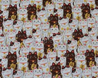 Japanese Fabric Cat Manekineko Khaki by the Half Yard