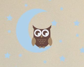 Owl on Moon Wall Decals, Star Wall Decals, Boy Nursery Decor, Baby Boy Bedroom, Owl Wall Decals