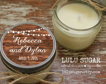 Set of 12 - 4 oz Soy Candle Wedding Favors - Wedding Favor Candles - String Lights Label  / Personalized Wedding Favors / Rustic Favors