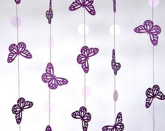 Purple Butterfly Paper Garland, Double-Sided, Bridal Shower, Baby Shower, Party Decorations, Birthday Decoration