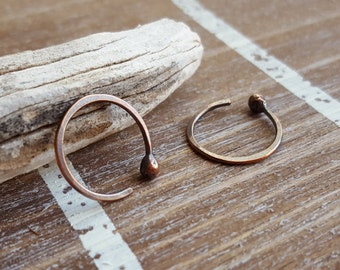 18 gauge Copper Hoops, Hammered Earrings, Handmade Jewelry, Choice of Size and Finish: Rustic Antiqued or Bright, Open