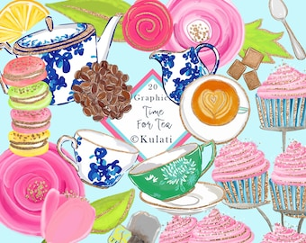 Instant Download - Colorful Afternoon Tea illustrations Clip Art, tea party graphics, tea / coffee clipart, tea graphics, coffee, PNG files