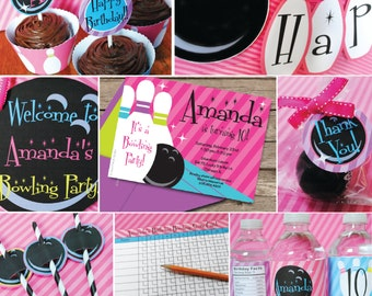 INSTANT DOWNLOAD, Bowling Girl Birthday Printable Party Package,Pink, Purple, Turq, You Edit in Adobe Reader