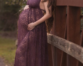 The Camille Lace Dress - Lace Gown - Bridesmaid Dress - Maternity Gown - Maternity Dress - Gown for Photo Shoot - Maternity Photo Prop