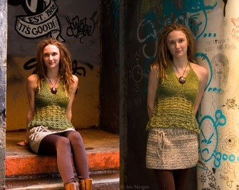 Olive - Crochet Festival Flow Top - Halter Tank top