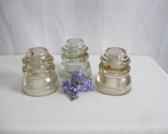 Instant Collection of 3 Clear Glass Large Size Insulators Made in USA Hemingray Some Rust See Details