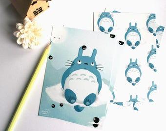 Totoro fanart - set of 2 illustrated postcards