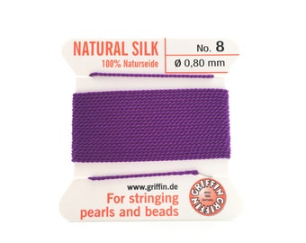 Griffin Natural Silk Beading Cord with attached needle, Size 8 Thread, Jewelry Making Supplies, Pearl Knotting Bead Stringing Supply