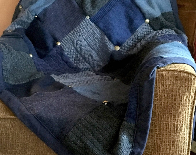 """My """"Sea of Blue"""" Wool Sweater Quilt — I can make one similar for you!"""