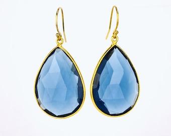 Kyanite earrings, Gold Framed Stone, September Birthstone earrings Gold Bridesmaid earrings Gift For Her Teardrop Stone earrings Mothers day