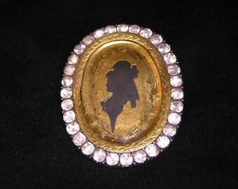 Georgian Silver-Paste Silhouette Brooch