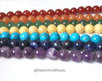 7 FULL Strands, 6mm Chakra Beads, Chakra Stones, Healing Crystals, Genuine Healing Beads, 9 ft of beads+, approx. 490 Beads Total