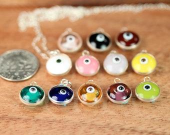 Amulet necklace - evil eye necklace - talisman - glass evil eye - nazar - protection - a silver lined glass eye on a sterling silver chain