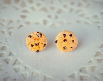 Chocolate Chip Cookie Stud Earrings Polymer Clay Jewelry Charm Dollhouse Miniature