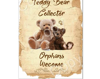 Instant Download  - Teddy Bear Collector-  Printable Digital Collage Sheet