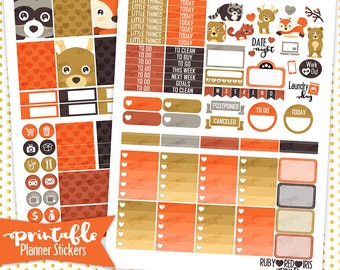 Forest Creatures | PRINTABLE Planner Stickers | Pdf, Jpg, Silhouette Studio V3 Format | ECLP Vertical Planner Stickers
