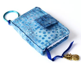 Tiny Journal in Blue Batik Fabric Cover, Miniature Journal, Mini Blank Book, Key Ring Notebook, with Ribbon Bookmark and Hawaiian Charm