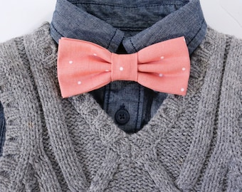 Peach Polkadot Bow Tie // Kids Bow Ties // Classic Bow Ties // Boys Accessories // Photography Props