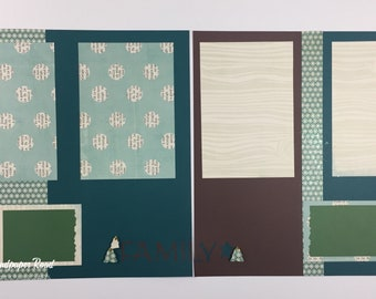 "CHRISTMAS 12 x 12 scrapbook pages (pre-made) - brown & green ""family"""