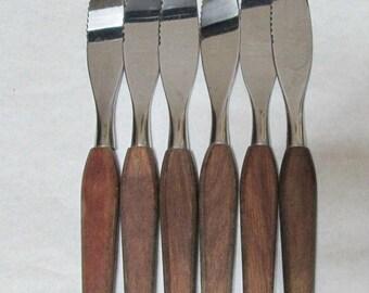 Vintage Fleetwood Set 6 Steak Knives Wood Handles