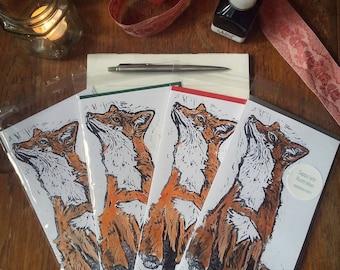Fox - Lino Print Card - Black Ink