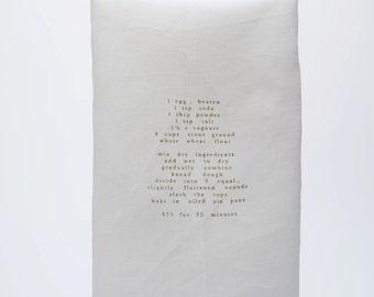 white linen tea towel with recipe
