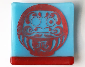 Daruma Fused Glass Catch All Dish, Good Luck Doll Keys And Coins Tray, Japanese Square Dish