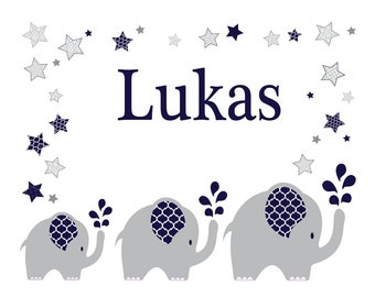 Personalized pillow with name and motif elephant Blue boy/girl
