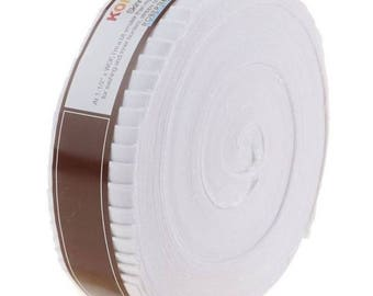 Kona Cotton Solids 1.5-inch Skinny Strips Roll-Up - White Colorway - 40pcs