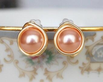 Rose Peach Earrings , Bridesmaid Earrings , Rose Pink Studs , Swarovski Pearl Studs