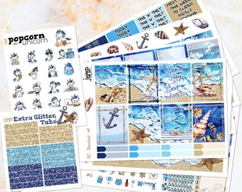 Nautical beach set / kit weekly stickers - Erin Condren VERTICAL Planner - summer tropical marine vacation