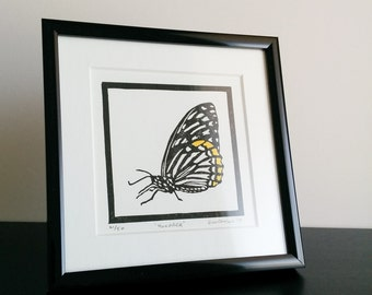 "Original hand tinted linocut block print: ""Monarch"" - limited edition hand pulled fine art block print (5 x 5"" - unframed)"