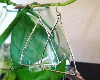 Sterling silver or 14k gold fill hammered triangle hoop earrings