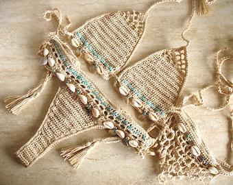 Sea Shells Bikini crochet and barefoot sandals, Micro bikini, Crochet top, Brazilian bikini bottom, Crochet swimwear, Crochet bikini set