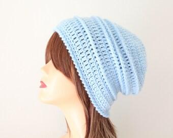 Crocheted Sky Blue Slouchy Beanie Hat