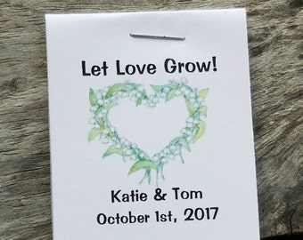 Mini Green Floral Heart Flower Seed Favors - Bridal Shower Favors - Wedding Favors Personalized for your Event - Seed Packets