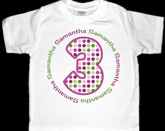 Personalized Purple and Green Polka Dot Age Birthday Shirt or Bodysuit - Personalized with ANY name and age