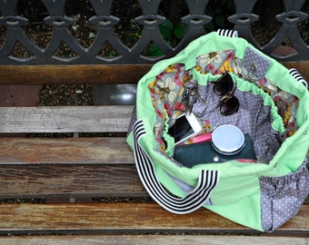 """Mint Tote / Diaper Bag """"Ivy"""", Floral Lining, Many Pockets"""