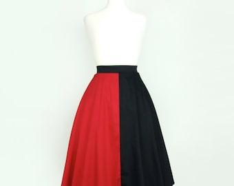 Harlequin Red and Black  Full  Circle  Skirt
