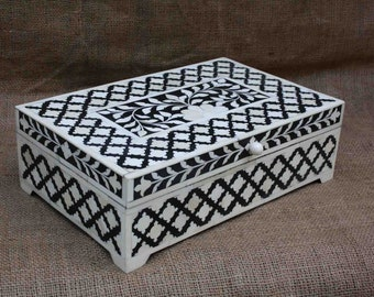 Bone Inlay box in wood floral box table decor black color box handmade coffee table box ottoman box bone inlay Moroccan decor jewellery box