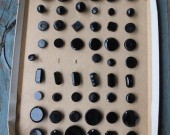 Vintage Black Glass Buttons