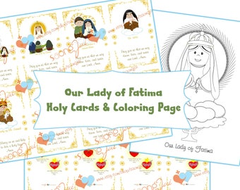 Our Lady of Fatima Holy Cards & Coloring Page PDF