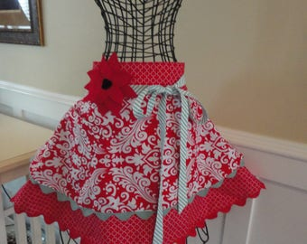 Cherry Turnover ~   Annabelle Style -  Women's HALF Apron ~ 4RetroSisters