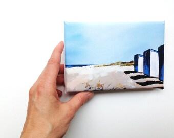 beach huts in a row by the sea, mini canvas art print