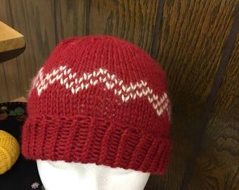100% alpaca red wool hat with white Fair Isle design