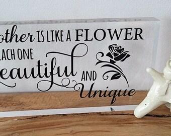 Acrylic block Mum quote