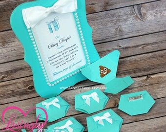 Dirty Diaper Game Aqua Light Teal Diaper Pins and matching 4 x 6 Frame - Designer Inspired - Baby & Company Baby Shower Games