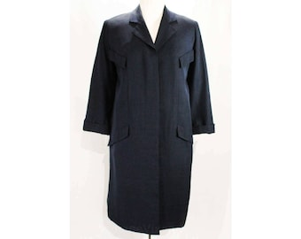 Size 14 Designer Coat - Rare 1950s Navy Silk Coat by Irene - Mid Century 50s Tailored Design with Four Faux Pockets - Bust 43 - 48968