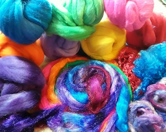 Pick and mix  therapy creative box ,hand dyed wool and fibers, needle felting kit, wet felting kit, wool tops and spinning