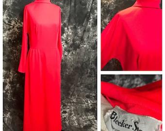 Vintage Maxi Dress / 1960's/ Bleeker Street/ Bright Red